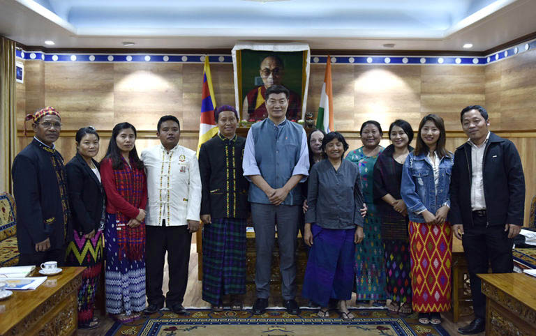 President Dr Lobsang Sangay with the eleven-member delegation from Kachin, the northern most state of Myanmar at the Kashag Secretariat on 17 April 2018. (Photo courtesy/T Phende/DIIR)