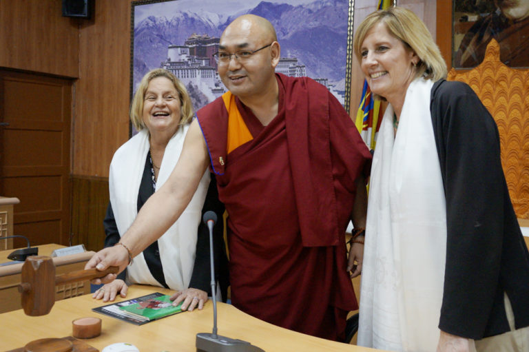 Representatives Ileana Ros-Lehtinen and Claudia Tenney with Speaker of the Tibetan Parliament-in-exile Khenpo Sonam Tenphel at the Tibetan Parliamentary Secretariat. (Photo courtesy: TPS)