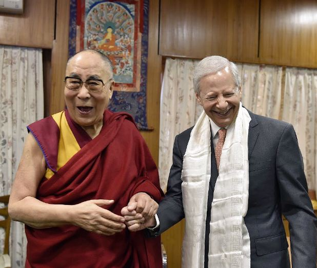 The US Ambassador to New Delhi, Mr Kenneth Juster with Tibet's exiled spiritual leader, the Dalai Lama. (Photo courtesy: Ken Juster/Twitter)