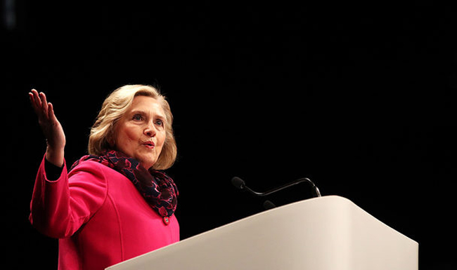 Former US secretary of state and presidential candidate Hillary Clinton speaks in Auckland, New Zealand. (Photo courtesy: KTVZ)