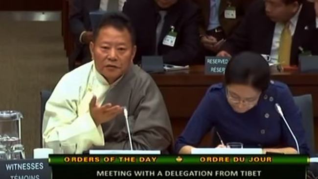 Pema Wangdu (right), deputy to the National People's Congress from the Tibet autonomous region at the Q & A session of the Canadian parliament's Standing Committee on Foreign Affairs and International Development. (Photo courtesy: Screenshot/Youtube)
