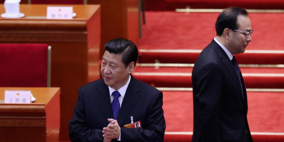 Xi Jinping and Sun Zhengcai Sun Zhengcai (R) walks behind Chinese President Xi Jinping (L) as they attending the fifth plenary meeting of the National People's Congress at the Great Hall of the People on March 15, 2013 in Beijing, China. (Photo courtesy: Business Insider)