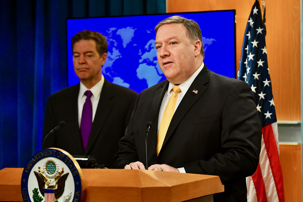 U.S. Secretary of State Mike Pompeo with Ambassador at Large for International Religious Freedom Sam Brownback, delivers remarks on the release of the 2017 International Religious Freedom Report, at the U.S. Department of State in Washington, D.C., on May 29, 2018. (Photo courtesy: US STATE DEPARTMENT)