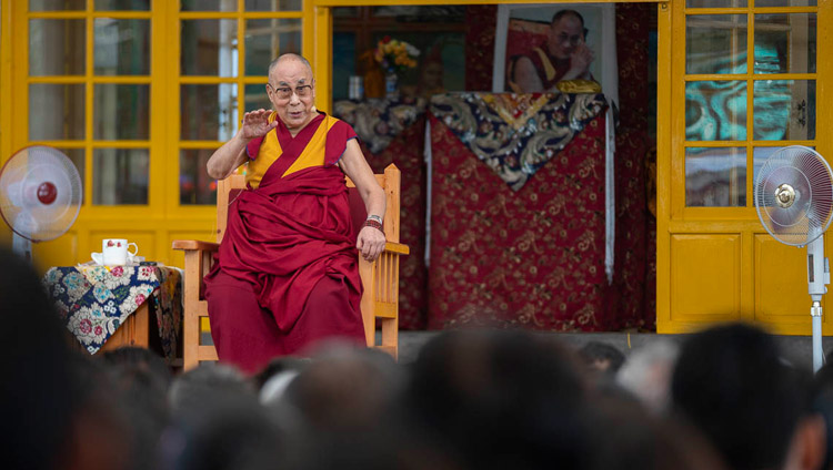 His Holiness the Dalai Lama addressing participants to an International Conference on the Middle Way Approach during their meeting at the Main Tibetan Temple courtyard in Dharamsala, HP, India on May 30, 2018. (Photo courtesy:  Tenzin Choejor/OHHDL)