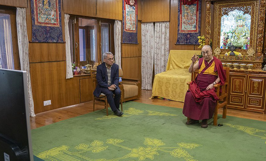 "His Holiness the Dalai Lama joins live by video link from Dharamsala, India, ""Happiness & Its Causes"", a conference on happiness and wellbeing in Sydney, Australia on June 25, 2018. (Photo courtesy: OHHDL)"
