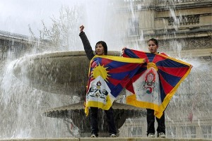 London, two Tibetans protesting against Olympic Torch Rally, March 2008.