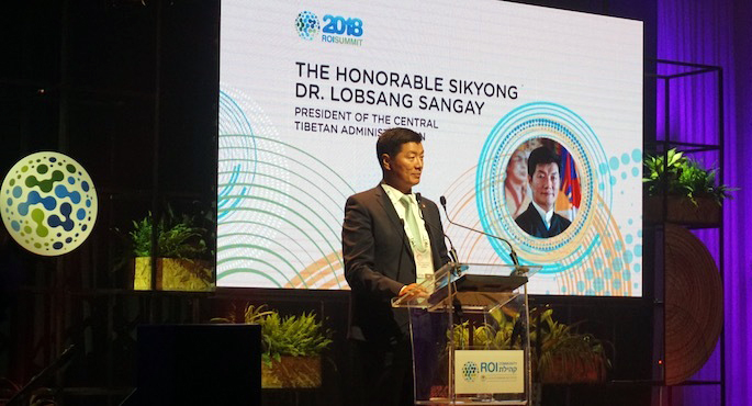 CTA Lobsang Sangay President speaking at ROI Summit. (Photo courtesy: tibet.net)