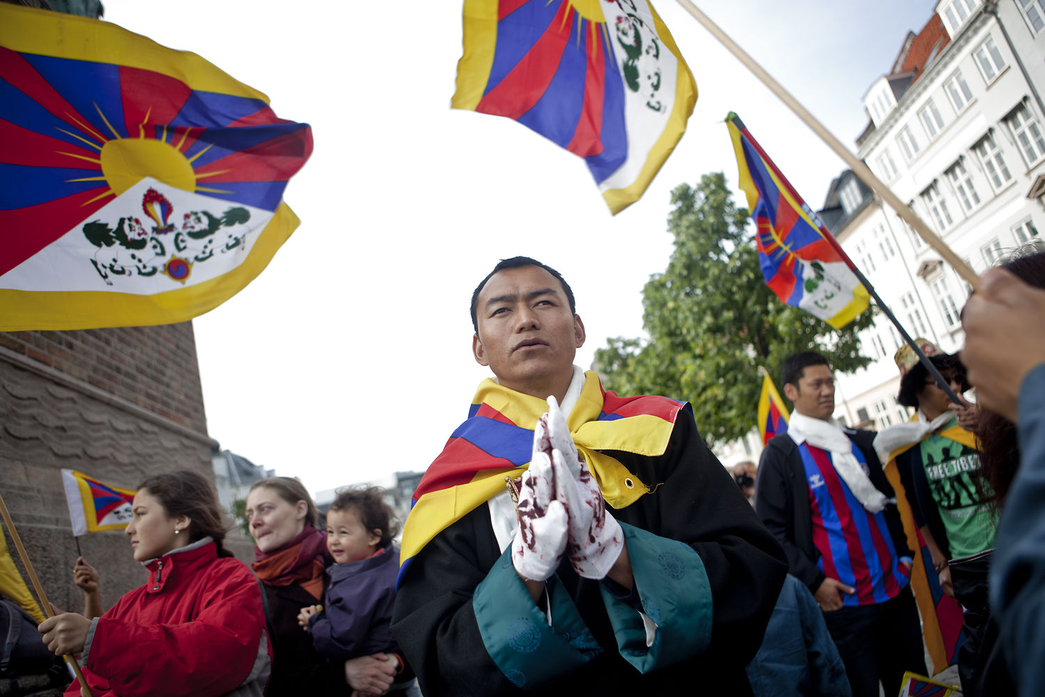 Pro-Tibet demonstrators in Copenhagen on June 15h, 2012. (Photo courtesy: The Local DK/Dennis Lehmann/Ritzau Scanpix)