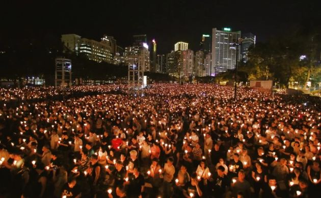 Hong Kong residence at the Victoria Park to commemorate June 4. (Photo courtesy: SCMP)
