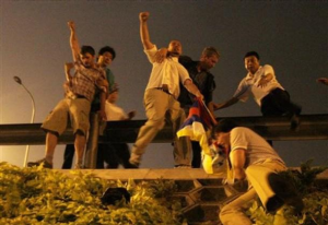 In white shirt Florian Norbu, protest action during the games in Beijing on August 22, 2008.