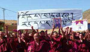"""His Holiness come back (to Tibet, author's note) —Fight for Freedom""."