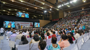 A view from the back of Thyagraj Stadium during the Launch of the Happiness Curriculum in Delhi Government Schools in New Delhi, India on July 2, 2018. (Photo courtesy: Tenzin Choejor/OHHDL)