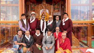 Representatives from the local communities posing for a group photo with His Holiness the Dalai Lama in Padum, Zanskar, J&K, India on July 23, 2018. (Photo courtesy: Tenzin Choejor/OHHDL)