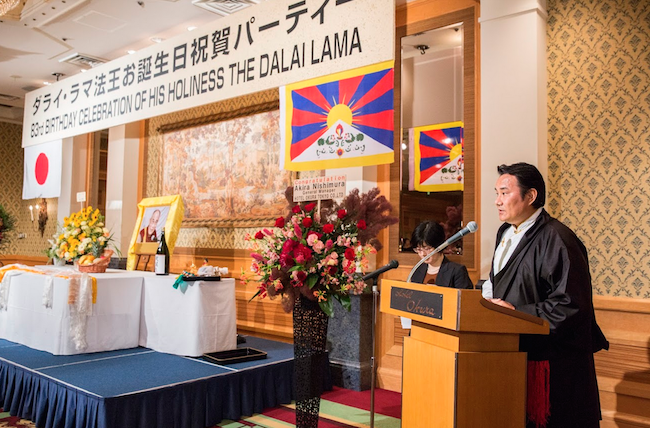 Kalon Choekyong Wangchuk addressing the 83rd birthday celebration of His Holiness the Dalai Lama in Japan. (Photo courtesy: OOT/ Japan)
