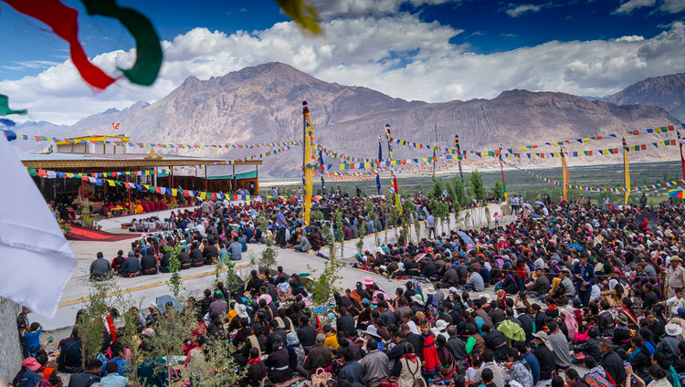 Many of the more than 5,600 people attending His Holiness the Dalai Lama's teaching at the teaching ground in Diskit, Nubra Valley, J&K, India on July 13, 2018. (Photo courtesy:  Tenzin Choejor/OHHDL)