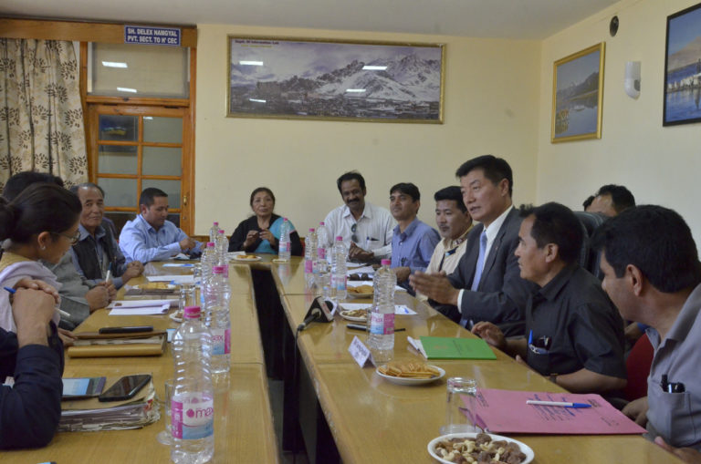 President Dr Lobsang Sangay during the meeting with Deputy Commissioner/ Chief Executive Officer of Leh, Mr Gyal P. Wangyal, Executive Councillor LAHDC, Tsering Dorjee, of Ladakh Autonomous Hill Development Council (LAHDC) and officials. (Photo courtesy: Jayang Tsering/DIIR)