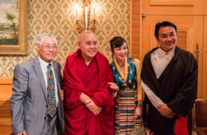 His Eminence Ling Rinpoche and Kalon Choekyong Wangchuk with dignitaries at the celebration. (Photo courtesy: OOT Japan)