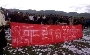 Tibetan people protesting against the mining project at a holy mountain in Amchok, eastern Tibet on May 31, 2016. (Photo courtesy: ICT)
