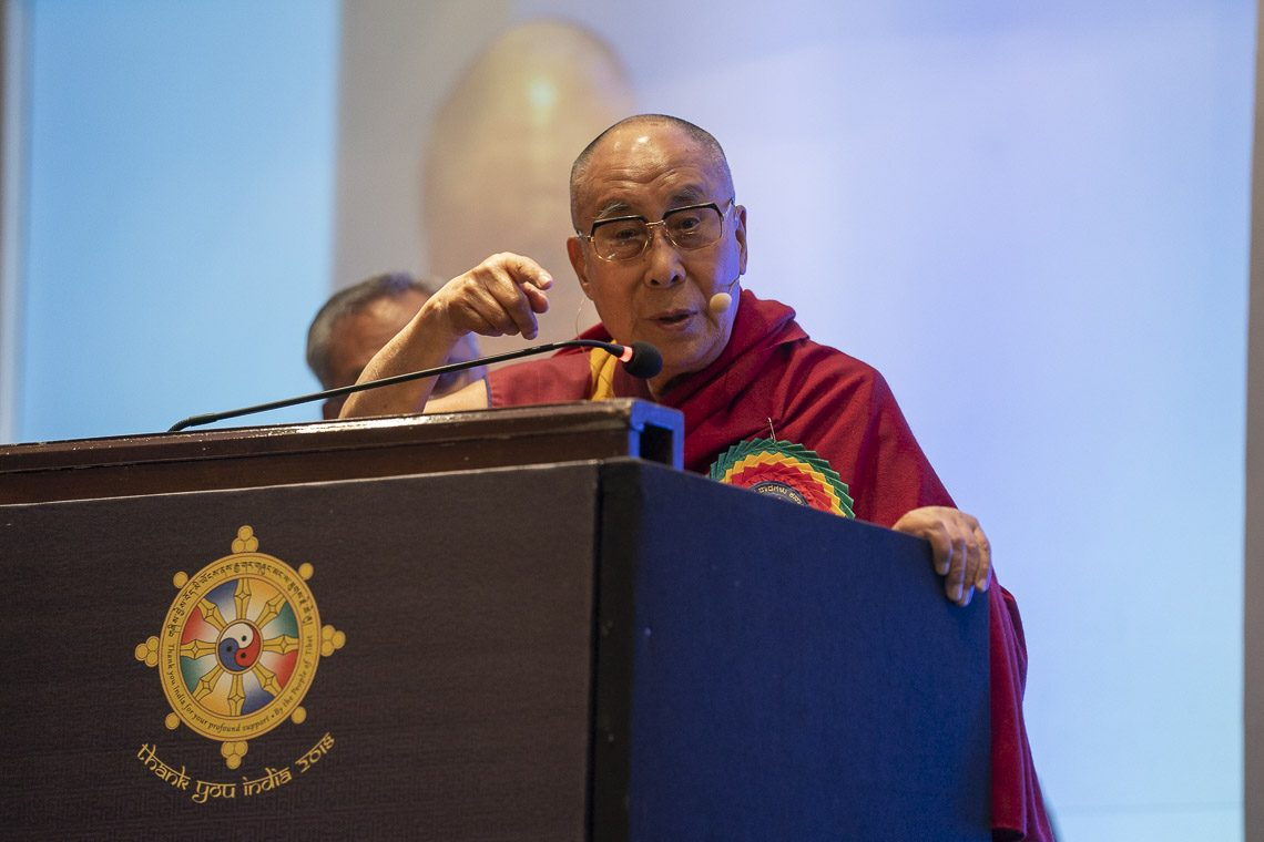 His Holiness the Dalai Lama addressing the audience at the Thank You Karnataka program in Bengaluru, Karnataka, India on August 10, 2018. (Photo courtesy: Tenzin Choejor/OHHDL)