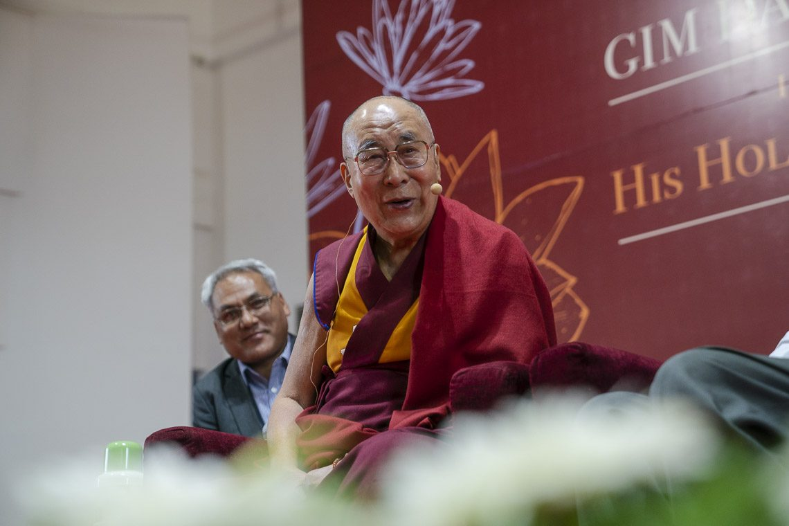 His Holiness the Dalai Lama speaking at the Goa Institute of Management in Sanquelim, Goa, India on August 8, 2018. (Photo courtesy:  Tenzin Choejor/OHHDL)