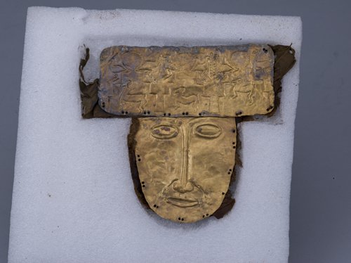 A Zhang Zhung gold mask unearthed in the Ngari Prefecture in Tibet (Photo courtesy: The Capital Museum)