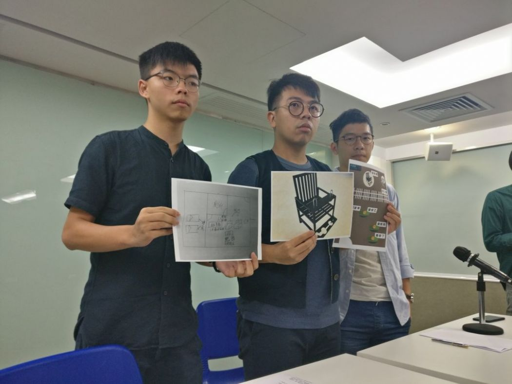 From left: Joshua Wong, Ivan Lam, Nathan Law. (Photo courtesy: Holmes Chan/HKFP)
