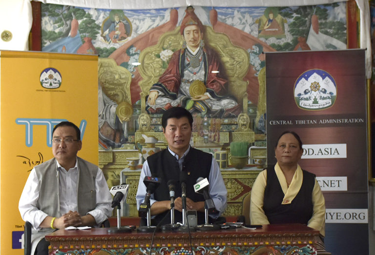 (L-R) Jamphel Wangdue, Chairman of Religion and Cultural Affairs for Arunachal Pradesh, CTA President Dr Lobsang Sangay and Tsewang Dolma Shosur, Additional Secretary of Department of Home during the press briefing at Kashag hall. (Photo courtesy/Tenzin Phende/DIIR)