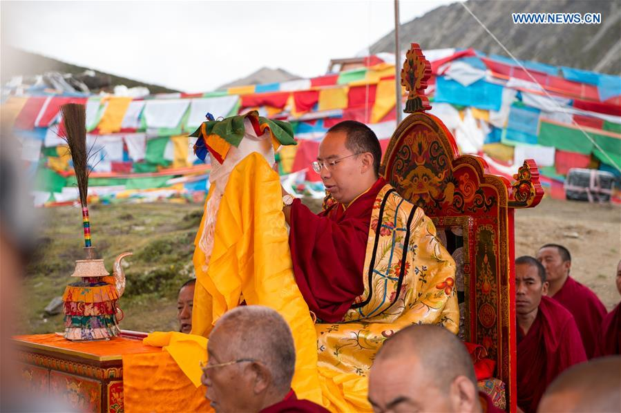 Gyaltsen Norbu, the 11th Panchen Lama recognized by Chinese government at Lhamo Lhatso Lake in Tibet on Aug. 18, 2018.  (Photo courtesy: Xinhua)