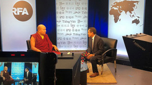 The Karmapa speaks in an interview with RFA Tibetan Service director Kalden Lodoe, July 30, 2018. (Photo courtesy: RFA)