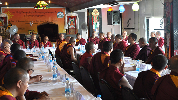 His Holiness the Dalai Lama with the heads of the four schools of Tibetan Buddhism and Bon Tradition at the conclusion of the three-day religious conference. (Photo courtesy: tibet.net)
