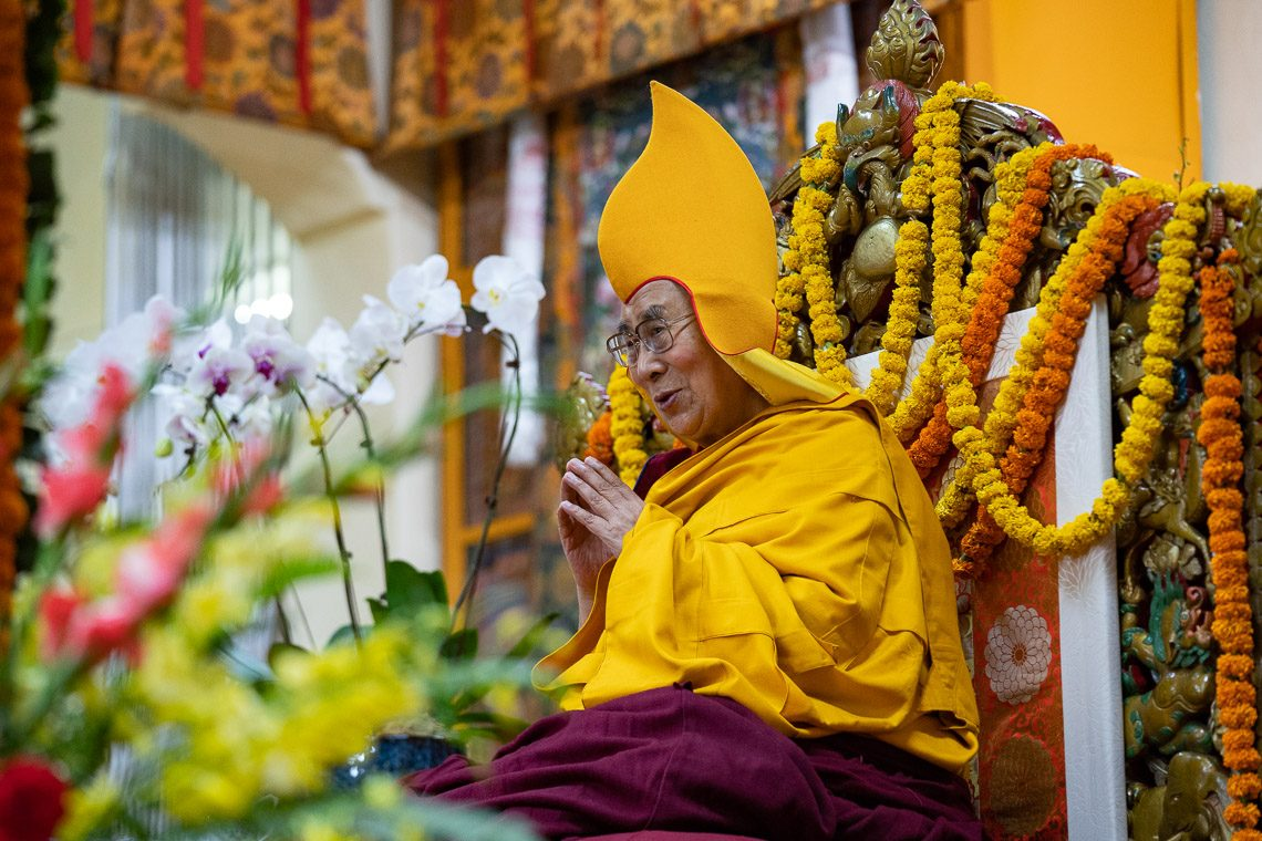 His Holiness the Dalai Lama at the long-life offering ceremony in Dharamshala. (Photo courtesy: OHHDL)