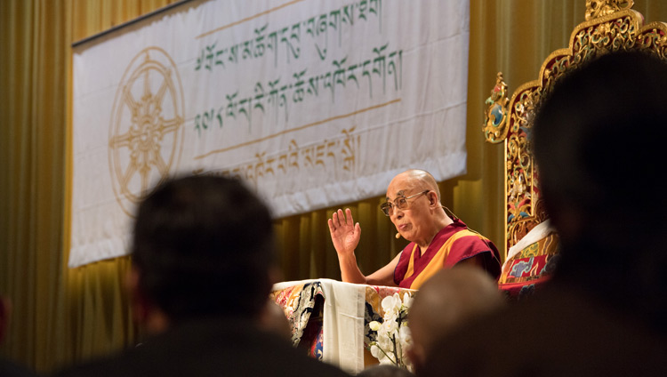 His Holiness the Dalai Lama addressing the audience at at Tibet Institute Rikon's 50th Anniversary Celebration in Winterthur, Switzerland on September 22, 2018. (Photo courtesy: Manuel Bauer)