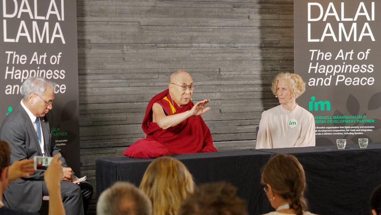 His Holiness the Dalai Lama addresses members of the press in Malmö, Sweden on September 12, 2018. (Photo courtesy:  Jeremy Russell)
