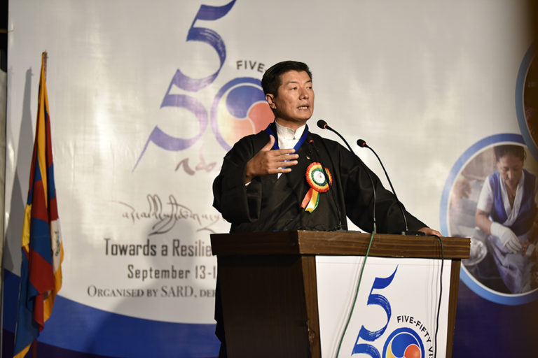 President Dr Lobsang Sangay speaking at the inaugural ceremony of the Five-Fifty Forum: Towards a Resilient Tibetan Community. (Photo courtesy: Tenzin Jigme/DIIR)