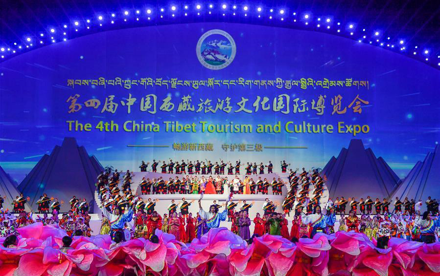 4th China Tibet Tourism and Culture Expo held in Lhasa.  (Photo courtesy: Xinhua/Liu Dongjun)