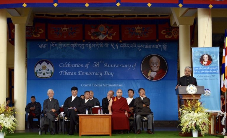 Chief guest Shri Bharatendra Singh, honourable member of Lok Sabha addressing the celebration of 58th anniversary of Tibetan Democracy Day at Tsuglagkhang, 2 September 2018. (Photo courtesy: Tibet.net)
