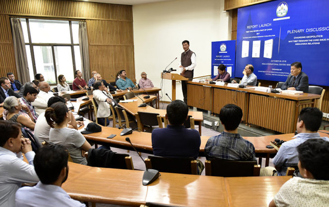 CTA President Dr Lobsang Sangay speaking at the Report Launch held in New Delhi on 29 October 2018. (Photo courtesy/Tenzin Phende/DIIR)