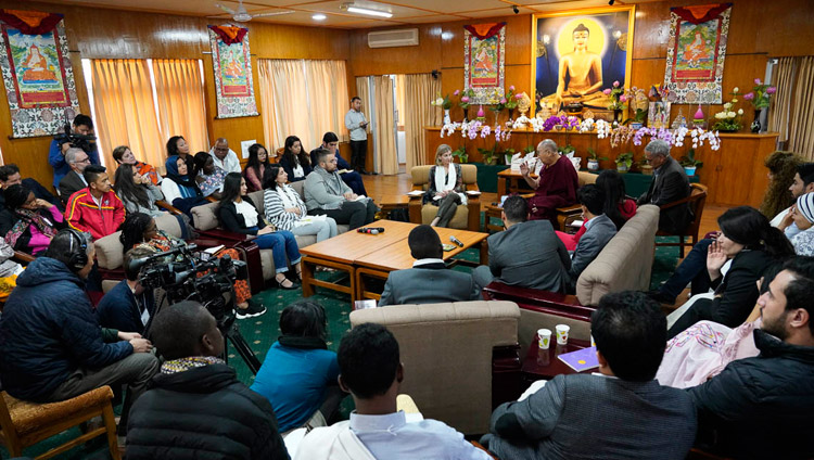 A view of the meeting room at His Holiness the Dalai Lama's residence during his meeting with youth leaders from conflict areas in Dharamsala, HP, India on October 25, 2018. (Photo courtesy: OHHDL/ Ven Tenzin Jamphel)