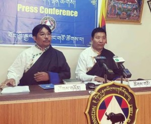 Addressing a press conference at Dharamshala, NDPT President Mr Tsetan Norbu made it clear that while the party will respect the electoral law ban, it will not support it and continue to strive for a party-based democratic election system. (Photo courtesy; Phayul)
