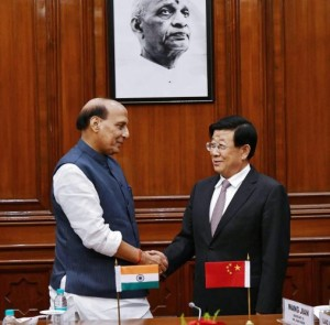 nion Home Minister Rajnath Singh with Chinese State Councillor and Minister for Public Security Zhao Kezhi, in New Delhi. (Photo courtesy: PTI)