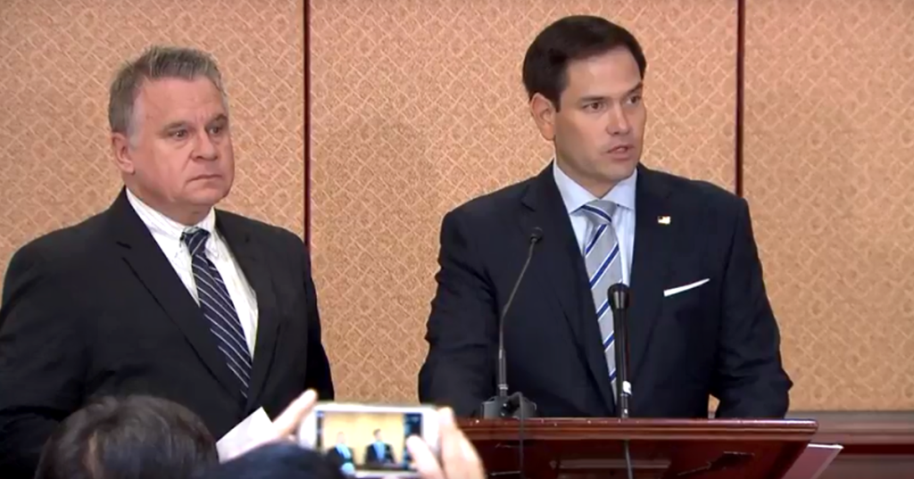 Sen. Marco Rubio (R-FL) Chairman of CECC and Rep. Chris Smith (R-NJ), CoChairman of the Congressional-Executive Commission on China (CECC), at the release of the 2018 Annual Report of the Commission on human rights conditions and rule of law developments in China, in Washington, on Oct. 10, 2018. (Photo courtesy: ICT)