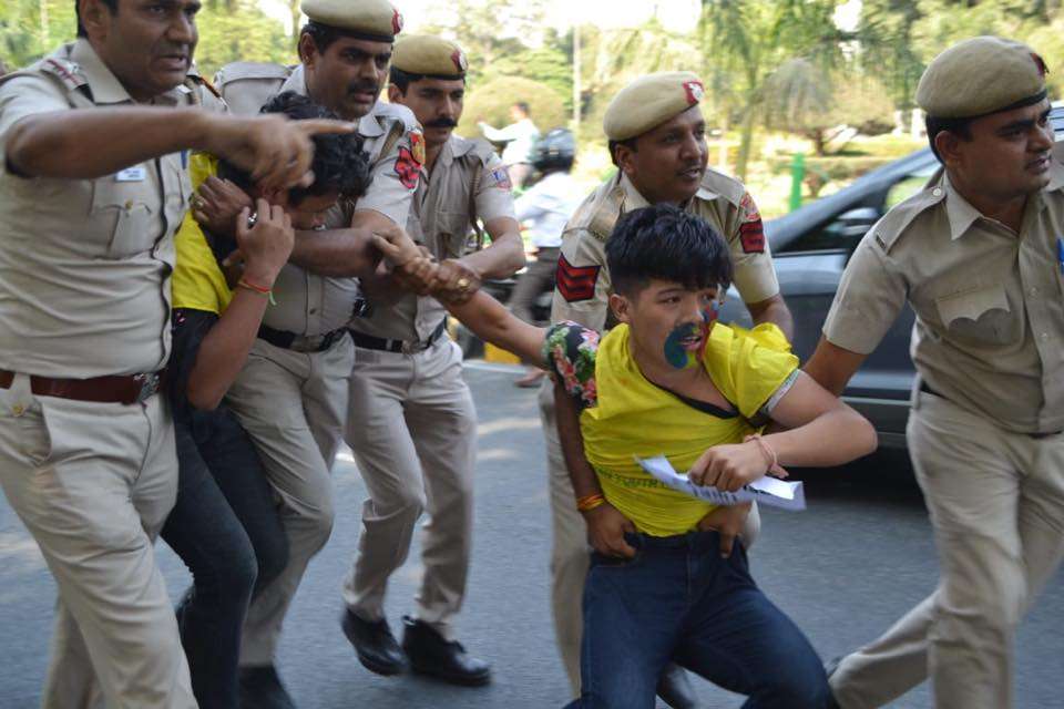 Activists of the Tibetan Youth Congress, were taken away by police as they protested outside the Chinese embassy in New Delhi. (Photo courtesy: TYC)