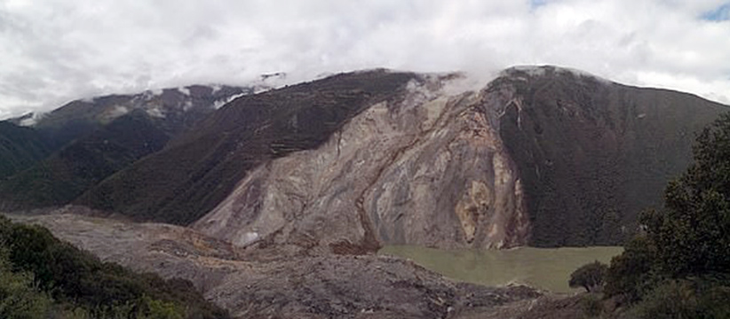 View of the site of the landslide which created a barrier lake. (Photo courtesy: Daily Mail)