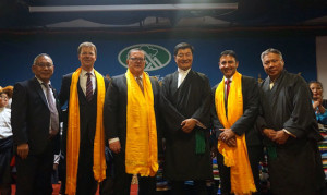 (L-R) Representative Ngodup Tsering. Office of Tibet, DC, MP Sven Spengman, MP James Maloney, President Dr. Lobsang Sangay, MP Arif Virani and Sonam Lhadar, Representative of local Tibetan community at the Tibetan Canadian Culture Center in Toronto, 18 November 2018. (Photo courtesy: Tibet.net)