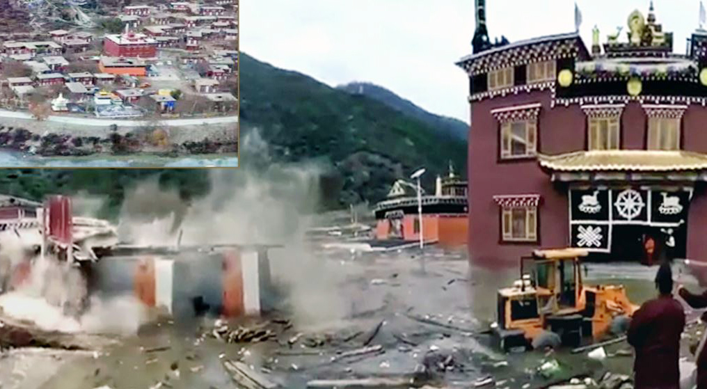 The Polu monastery in Tibet's Chamdo prefecture is shown partly submerged. (Photo courtesy: VOA)