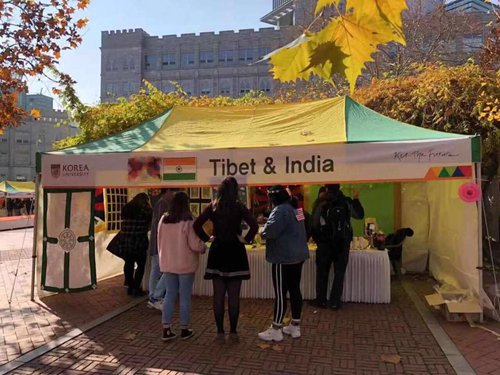 Tibet and India booth at the International Students' Festival of Korea University. (Photo courtesy: Global Times)
