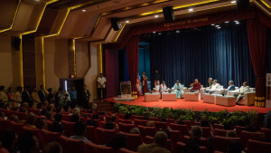 A view of University of Mumbai's Green Technology Auditorium during the inaugural session of the Conference on the Concept of 'Maitri' or 'Metta' in Buddhism at the University of Mumbai in Mumbai, India on December 12, 2018. (Photo courtesy: OHHDL/Lobsang Tsering)