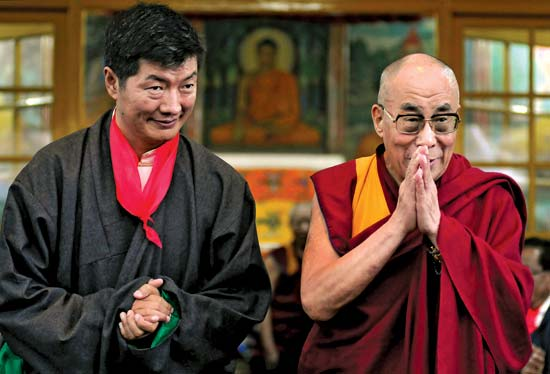 His Holiness the Dalai Lama and Central Tibetan Administration's President Lobsang Sangay. (Photo courtesy: OHHDL)