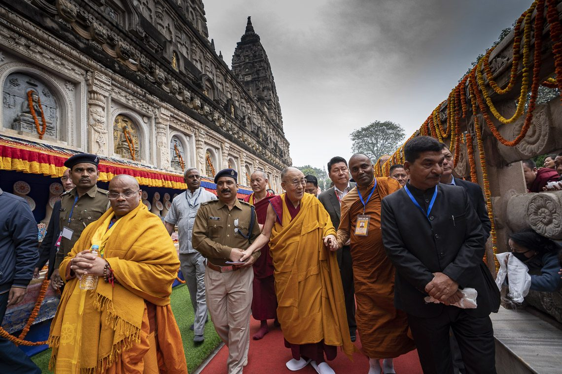Tibet's exiled spiritual leader, the Dalai Lama, has arrived at the Buddhist's holiest site of Bodh Gaya in the Indian state of Bihar on Dec 16 to give religious teachings over Dec 28-30. (Photo courtesy: OHHDL/Tenzin Choejor)