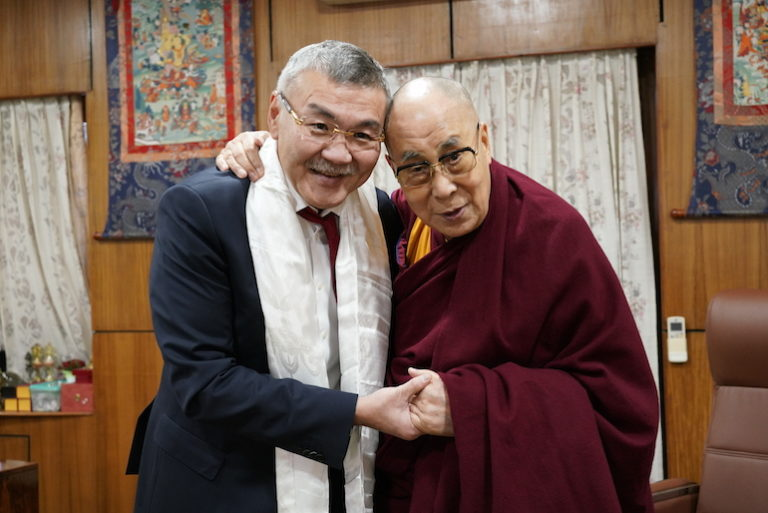 President Aleksey Orlov of the Buddhist-majority Russian Republic of Kalmykia has on Nov 30 called on Tibet's spiritual leader, the Dalai Lama, at his exile home in Dharamshala, India. (Photo courtesy: OHHDL)